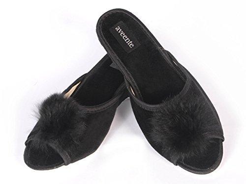 Aveente - Zapatos de Terciopelo para mujer Negro - negro