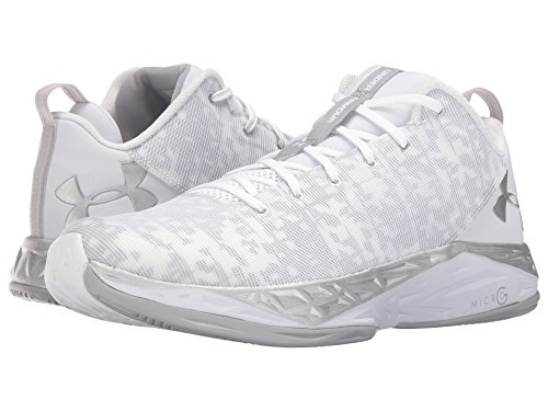Under Armour Fire Shot Low Basketball Men's Shoes Size 7.5 White/Metallic Silver
