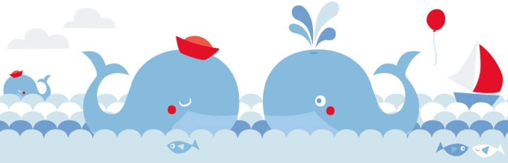 Wall Decal and Stickers for Children Whales Wall Stickers for Childrens Playroom or Bedroom in Blue//Red lovely label Wallpaper Border for Kids Self-Adhesive Wall Border Stickers