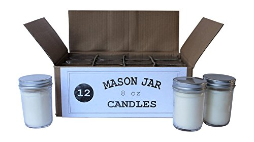 Set of 12 Bulk Wholesale Mason Jar Candles - 8 Ounce - Perfect For Weddings, Restaurants, Gifts, Baby Showers