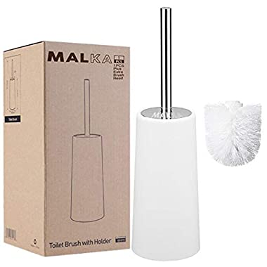 Malka White Toilet Brush with Holder and Extra Brush - Long Heavy Duty Stainless Steel Handle - Toilet Bowl Scrubber Cleaner, Durable Shed-Free Scrubbing Bristles, Discreet Wand Stand