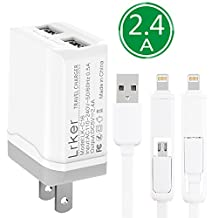 Dual USB Charger: Lrker 2.4A 12W 2 USB Wall Travel Charger Fast Flash Charging Portable Power Adapter with 3FT/1M Two in One Cable for iPhone 6 6S Plus iPad Air 2 mini 3 Samsung LG Huawei and More