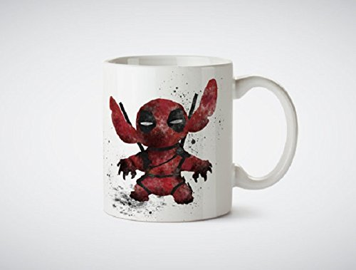 Stitch Deadpool Watercolor Art MUG - Coffee Mug, Tea Mug, Cute Mug - Gift, cute gift, Souvenir, 11oz, 15oz