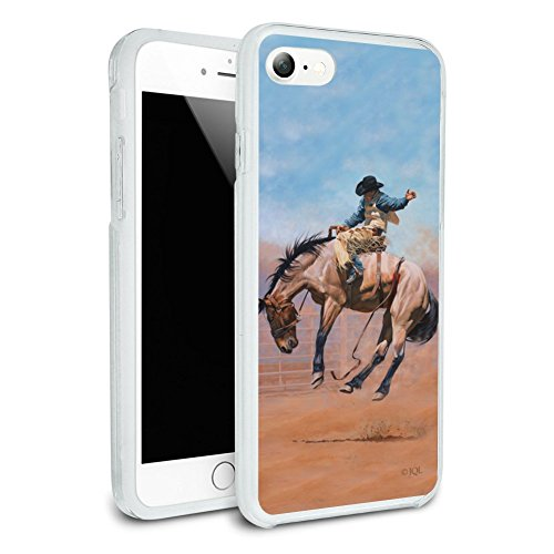 (Saddle Bronc Horse Cowboy Riding Rodeo Event Protective Slim Fit Hybrid Rubber Bumper Case Fits Apple iPhone 8 )