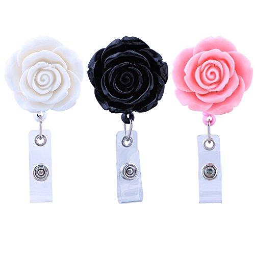 Soleebee 28 inches Retractable Badge Reels Rose Nurse ID Badge Holder Reel with Belt Clip 3 Pack- White/Black/Pink