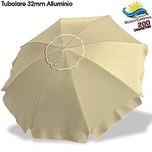 BAKAJI Ombrellone in Alluminio da Spiaggia Mare o Piscina Diametro 200 cm Mare con Snodo Antivento e Sacca in PVC per Il… 6 spesavip