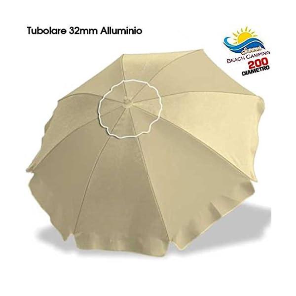 BAKAJI Ombrellone in Alluminio da Spiaggia Mare o Piscina Diametro 200 cm Mare con Snodo Antivento e Sacca in PVC per Il… 1 spesavip