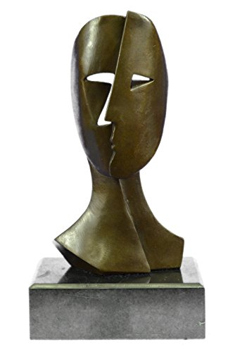 Handmade European Bronze Sculpture Art Deco Modern Art Faces by Picasso Marble Base Figurine Decor Bronze Statue -XN-2113-Decor Collectible -