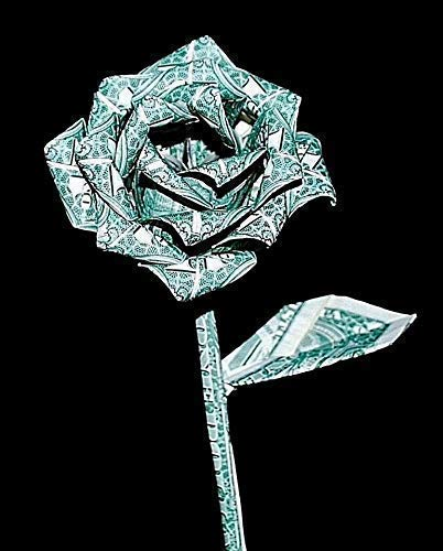 origami Money rose flower 10 real $1 dollar bills Graduation valentine unique Gift