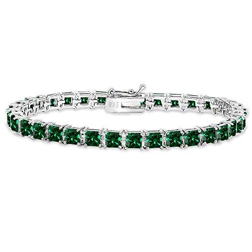 Princess Cut Line Bracelet - Sterling Silver Simulated Emerald 4mm Princess-Cut Square Classic Tennis Bracelet