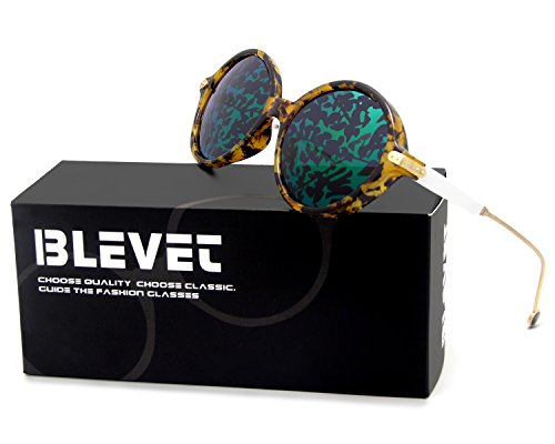 BLEVET Vintage Sunglasses For Women Round UV Protection Metal Frame BL049 - Glasses Frames Green