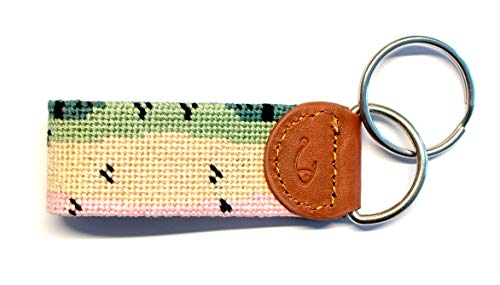 Hand-Stitched Needlepoint Key Fob or Key Chain by Huck Venture (Trout)