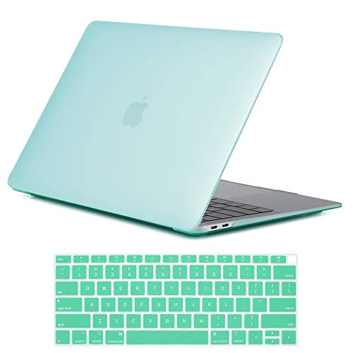 Frosted Plastic Case - Se7enline New 2018/2019 MacBook Air 13 Inch A1932 Case Smooth Matte Frosted Plastic Hard Shell Case Cover & Keyboard Cover for MacBook Air 13-Inch Retina Display with Touch ID Version, Aqua Green