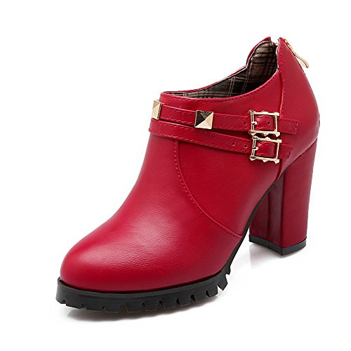 Zipper Ankle AllhqFashion Heels Pu High Boots Solid High Red Womens Yr5qWSg5O