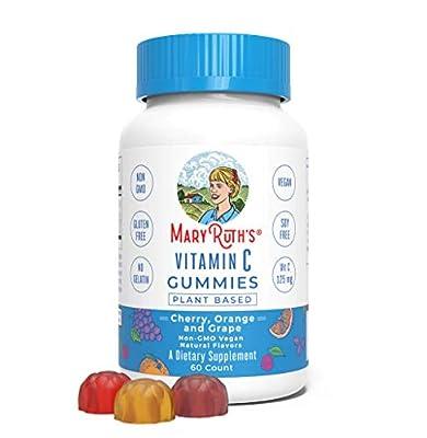 Vegan Vitamin C Gummies (Plant-Based) by MaryRuth's Antioxidant Non-GMO Vegan Paleo Friendly Gluten Free Metabolism for Men, Women & Children 125 mg of Vitamin C per gummy 60 Count