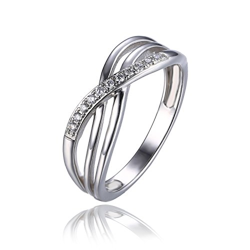 Jewelrypalace Womens Infinity Cubic Zirconia Engagement Ring Wedding Band 925 Sterling Silver Size 6
