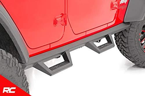 (Rough Country Nerf Bar Hoop Steps Compatible w/ 2018-2019 Jeep Wrangler JL 4DR Drop Side Steps Rock Sliders 90769)