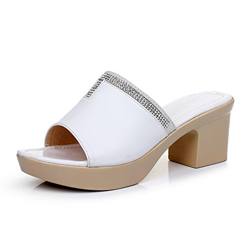 Block Slides Platform Heel Shoes Sandals Womens Btrada White Casual qIx61wvwS