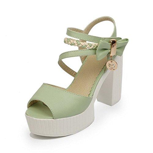 AllhqFashion Mujeres Velcro Peep Tacón ancho Cuero Colores Surtidos Sandalia Verde