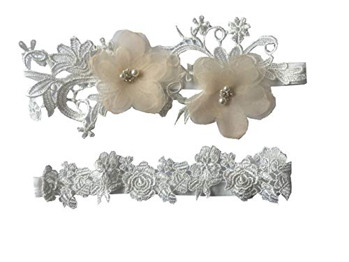 (YuRong Bridal Garter Set Organza Flower Wedding Garter Set G27 (Champagne))