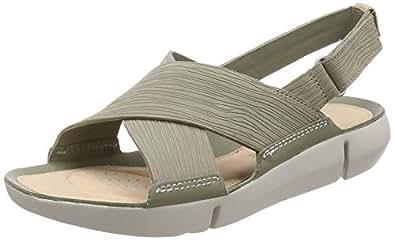 Clarks Kadın Tri Chloe Açık Burun Sandalet, Yeşil, 36 Numara