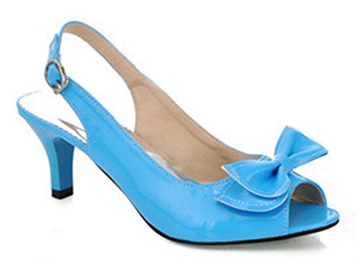 Aisun Women's New Patent Leather Peep Toe Kitten Heels Sandals Shoes With Bows Blue
