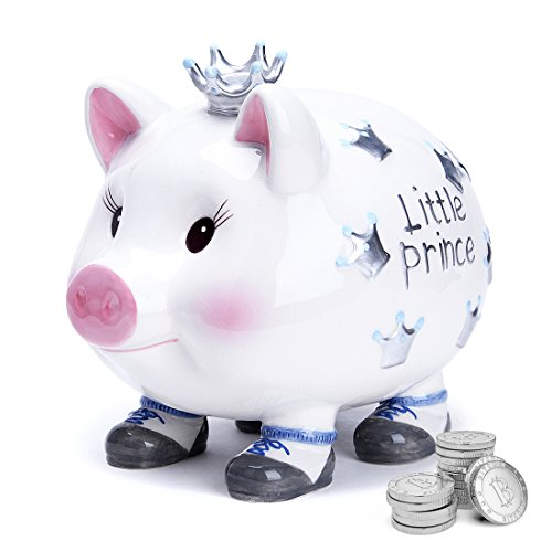 FORLONG FL2030 Crown Prince Large Ceramic Piggy Bank Coin Bank for Boys