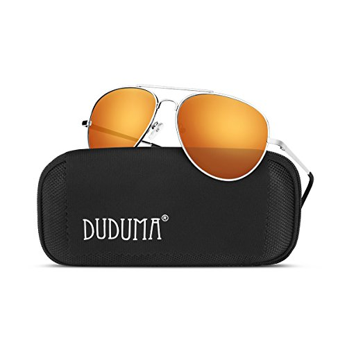 Duduma Premium Full Mirrored Aviator Sunglasses w/ Flash Mirror Lens Uv400 (Silver Frame/gold-red Mirror - Mens Sunglasses Aviator