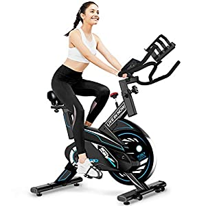 Well-Being-Matters 41DmAaknOFL._SS300_ L NOW Indoor Exercise Bike Stationary, Belt Drive Indoor Cycling Bike for Home Office Cardio Workout Bike Training Max 350Ibs With Wire to Connect Phone