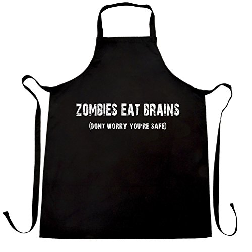 Halloween Chefs Apron Zombies Eat Brains, You're Safe Black One Size -