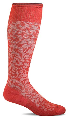 Sockwell Women's Damask Moderate Graduated Compression Sock, Poppy - S/M