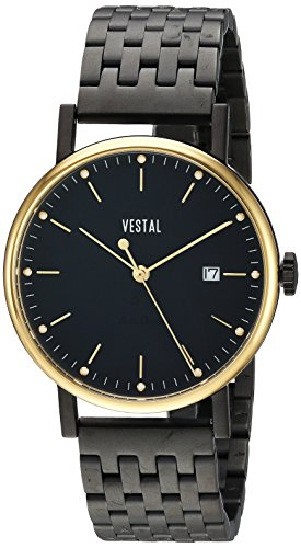Vestal 'Sophisticate 36 Metal' Swiss Quartz Stainless Steel Dress Watch, Color Black (Model: SP36M12.7BKM)