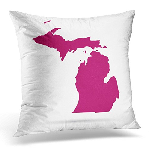 SPXUBZ Red Abstract Map of the U State Michigan on White America American Decorative Home Decor Square Indoor/Outdoor Pillowcase Size: 18x18 Inch(Two Sides)