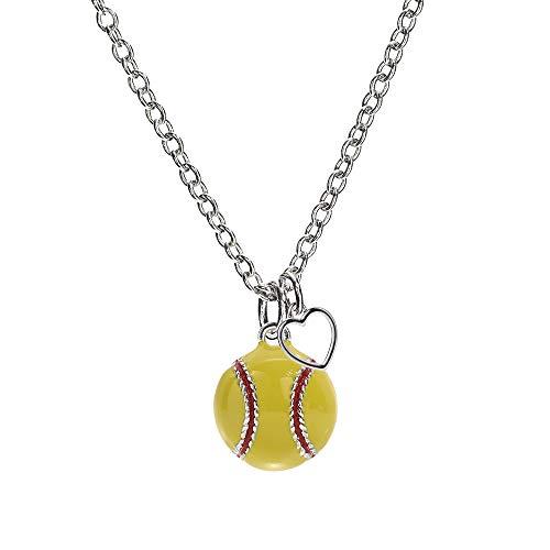 GIMMEDAT Softball Heart Enamel Necklace | Lead & Nickel Free | Player or Fan Gift