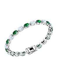 Solid Sterling Silver 6x4mm Oval Shape Gemstone/Birthstone Tennis Bracelets Available in Many Colors, 7.25 Inch Length