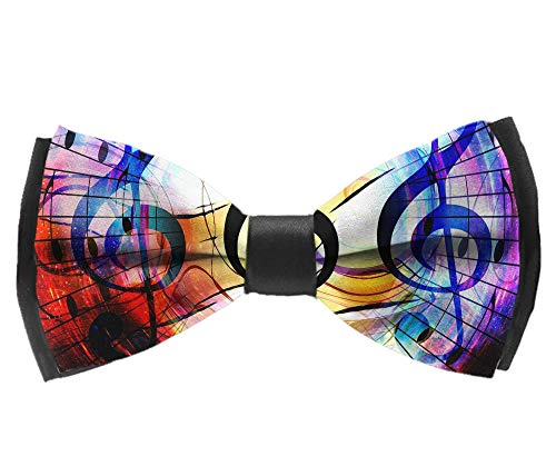 L Wright-King Men's Pre Tied Bow Ties for Wedding Party Abstract Music Notes Adjustable Bowties ()