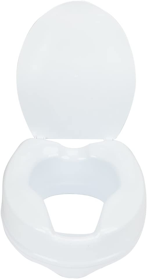"""Azadx 4"""" Raised Toilet Seat mit Cover, hoch Elevated Toilet Seat Locks Onto Most Toilets, Portable Assistance Commode Seat, Medical Aid für Elderly, Disabled (Toilet Seat mit Cover)"""
