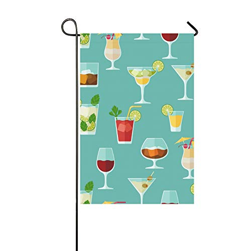 MOVTBA Home Decorative Outdoor Double Sided Cocktail Color Design Creative Romance Garden Flag,House Yard Flag,Garden Yard Decorations,Seasonal Welcome Outdoor Flag 12 X 18 Inch Spring Summer Gift