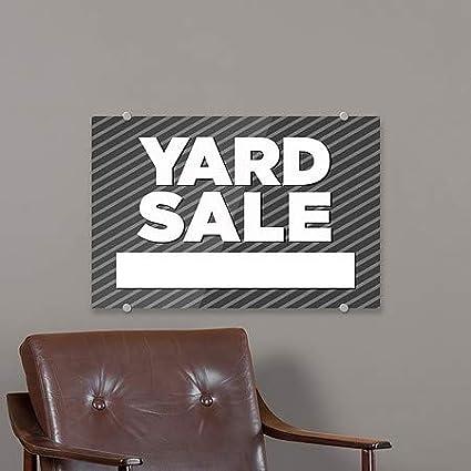 Yard Sale Stripes Gray Premium Brushed Aluminum Sign 27x18 CGSignLab