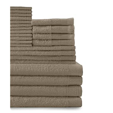 Baltic Linen Company Multi Count 100-Percent Cotton Complete 24-Piece Towel Set, Taupe
