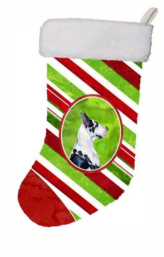 Caroline's Treasures LH9236-CS Great Dane Candy Cane Holiday Christmas Stocking, 11 x 18, Multicolor