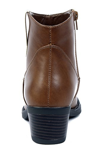 AgeeMi Shoes Damen Mid Heels Basic Stiefel Kurzschaft Plateau Ankle Stiefel Braun