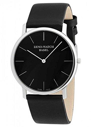 Zeno 40mm Bauhaus Dress Watch with Black Dial, Leather Strap and Swiss Quartz Movement 3767Q-i1