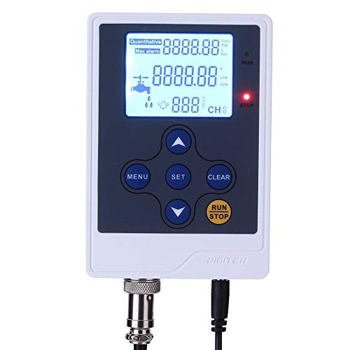 DIGITEN LCD Display Water Flow Control Meter Liquid Flow Rate Volume Counter Flowmeter Quantitative Controller Liter/Gallon LPM/GPM for Drip Irrigation System Beer Brewing