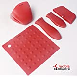 ★ Silicone Hot Handle Pot Holder Set Of 5 Mix For Cast Iron Skillets & Cooking, Mini Handle & Assist Handle, Trivet, Oven Mitt, ★ Pot Holders, Trivets, Spoon Rest, Jar Opener, Coaster ★ Red