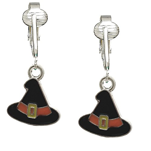 n Earrings for Girls, Kids, Women-Witch Hats, Ghosts, Candy Corn, Pumpkins- Unpierced (Witch Hats) (Candy Corn Witch Teen)