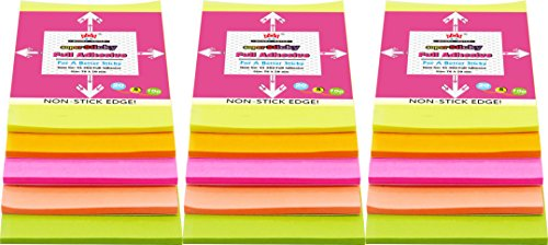 4A Sticky NotesFull Adhesive Notes,3 1/3 x 2 Inches,20 Sheets/Color,5 Colors/Pack,3 Packs/Set,300 Sheets Total,AAAA 4A 302 Full Glue
