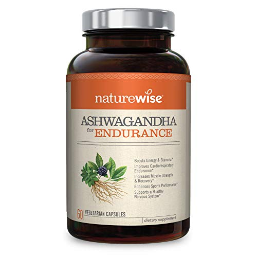 NatureWise Ashwagandha for Endurance Adrenal Support Energy Supplement KSM 66 Ashwagandha Organic Extract CoQ10, Ginseng, Eleuthero, B12, Green Tea Watch Product Video in Images 60 Ct