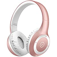 Wireless Bluetooth Headsets, Bodecin Skin Friendly Leather 3D Over-ear Stereo Sound Sport Bluetooth 4.1 Headphones for iPhone/iPad/Android Build in Mic Support TF Card(Rose Gold)