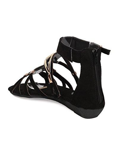 Alrisco Women Faux Suede Gladiator Sandal - Micro Wedge Sandal - Metallic Cut Out Sandal - GI53 by Black Mix Media Gv70FgTuBm